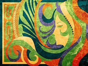 A1 SIZE PRINT canvas painting ART NOUVEAU FASHION GREEN YELLOW