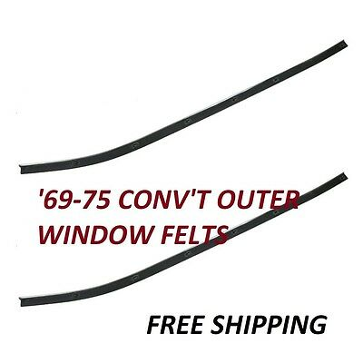 Outer Door Window Felt Sweep Belt Seal Pair Set for 69-75 Corvette Convertible