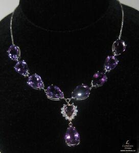 38-4-ct-Amethyst-Silver-Gemstone-Necklace