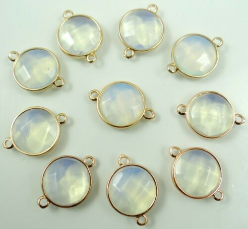 Natural Opalite Faceted pendant Bracelet Charm Connector Gold Connector diy