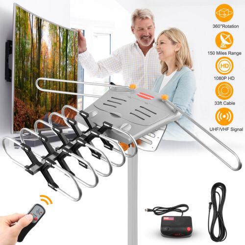 HDTV Antenna Amplified Digital TV Antenna 150 Mile 360 Rotation Outdoor 1080P