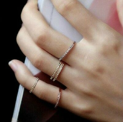 18K GP White Gold Fashion Wedding Band Ring Crystal Size 6 7 8 9