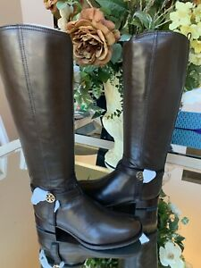 NIB-Tory-Burch-Bristol-Brown-Coconut-Leather-Riding-Boots-Tall-Size-9-5-M