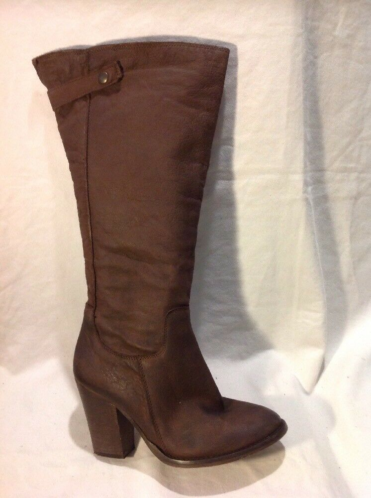 Linea Brown Knee High Leather Boots Size 38