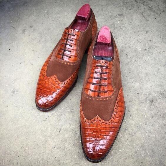 Pure Handmade Tan Crocodile & en daim marron en cuir à lacets Chaussures Pour Hommes