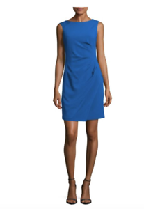 ADRIANNA PAPELL SOLID RUCHED blueE SHEATH DRESS sz 10