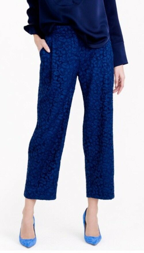 NWT JCREW  495 Collection cropped pant in French lace Größe6 E6049 Admiral Blau