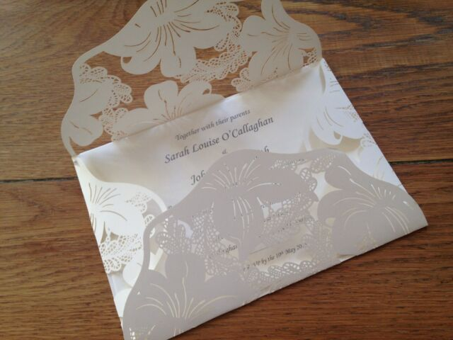 Personalised Wedding Invitations Wallet Envelope Style Vintage Lace Laser Cut