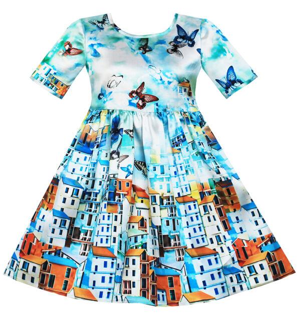 Sunny Fashion Girls Dress Satin Blue Sky Butterfly City Building Print Size 4-10