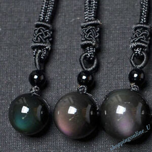 Natural-Crystal-Black-Obsidian-Necklace-Pendant-Stone-Rainbow-Eye-Bead-Ball-Gift