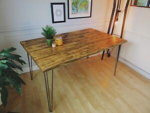 Dining Table Desk On Steel Hairpin Legs