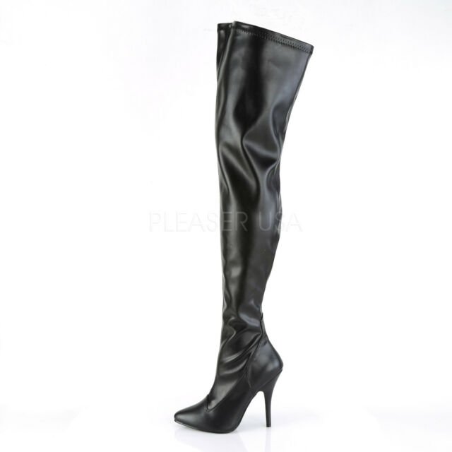 Dominatrix Plain Stretch ZIPPER Heel Thigh High Stiletto Heel ZIPPER Stiefel Schuhes 0b23e4