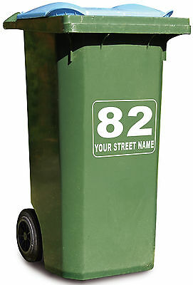 2x WHEELIE BIN STICKER GREEN RECYCLE BOX DUSTBIN TRASH DECAL NUMBER VINYL STREET