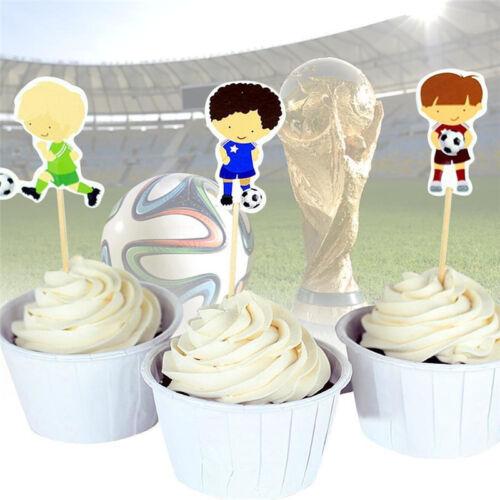 24pcs Cartoon Football Hat Cupcake Decor Sport Boys Cake Toppers Party Supplies