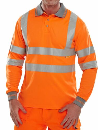 New Mens Hi Vis Long Sleeve High Visibility Grey Collared Work Polo Shirt