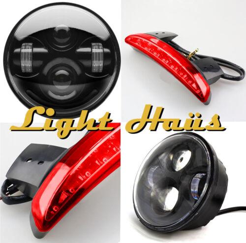 Eagle Lights 5 3/4 Harley Sportster Black LED Headlight + LED Taillight Kit