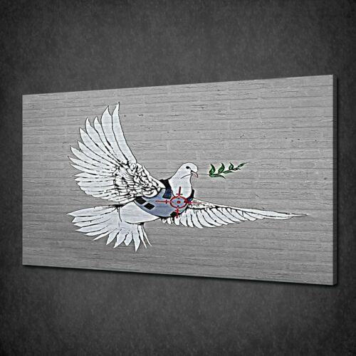 BANKSY ARMOURED PEACE DOVE GRAFFITI STREET ART CANVAS PRINT POSTER PICTURE