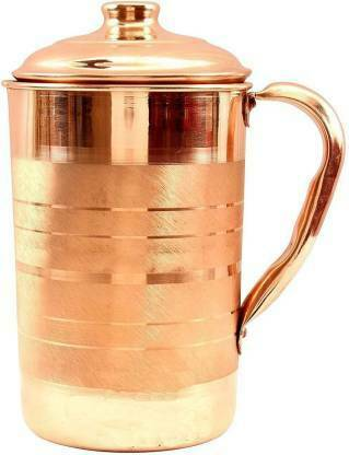 Pure Copper Handmade Jug Water Pitcher Indian Energized Storage Ayurveda Yoga
