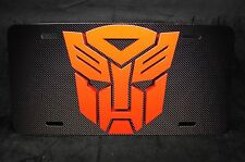 TRANSFORMERS LICENSE PLATE FOR CARS AND SUVS ALUMINUM METAL CARBON FIBER LOOK...
