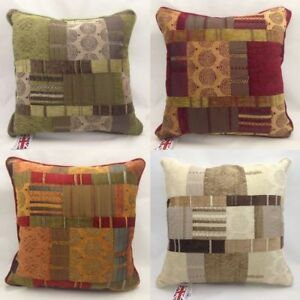 Large-22-034-piped-Cushion-Luxury-Fabric-Patchwork-Chenille-Feather-or-Poly-filling