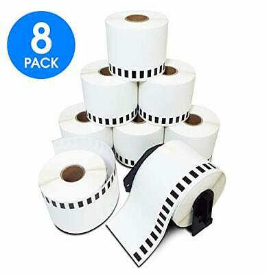 2-3//7 x 100 6 Rolls Brother-Compatible P-Touch DK-2205 62mm x 30.48m Continuous Length Paper Tape Labels With Refillable Cartridge