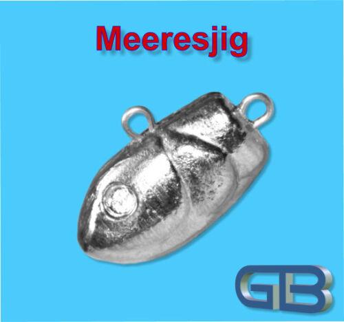 Meeresjig Dorschbombe 60g Jig Bleikopf Fischkopf Jigkopf.