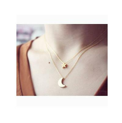 Women gold metal alloy Star&Moon Pendant double layers Choker Chunky Necklace