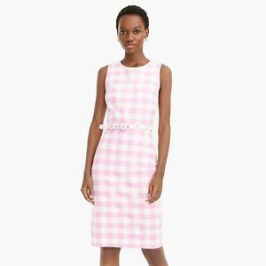 New-J-Crew-Belted-Pink-Sheath-Dress-In-Bi-Stretch-Cotton-US-8-Tall
