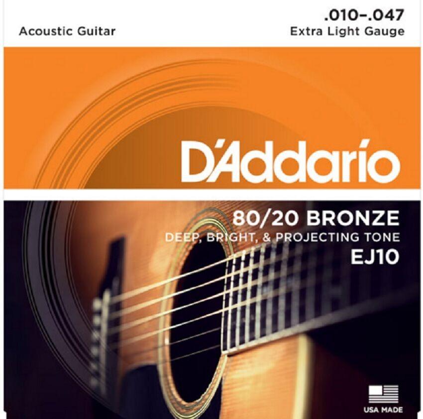 10 Sets D'Addario EJ10 Acoustic Guitar Strings 80/20 Bronze Extra Light 10-47