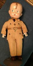 """Vintage 1930s Effanbee """"Skippy"""" Doll 14"""" in Original Military Outfit w/Stand"""