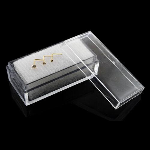 22 g 9K Solide or jaune L-Forme Cubique Zircon Jeweled Nez Vis 3 pièces en boîte