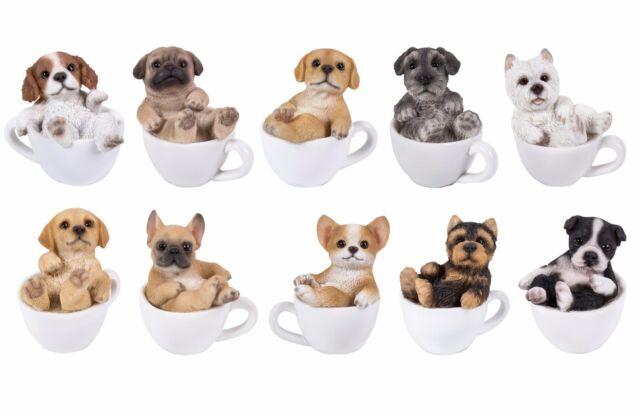 "Realistic Mini Adorable Pug Dog Teacup Statue 3/""H Pet Pal Dog Breed Figurine"