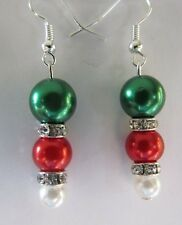 Green red white faux pearl rhinestones earrings Christmas  holiday dare2gobare
