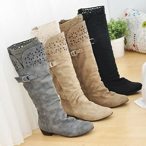 Womens-Shoes-Synthetic-Leather-Low-Heels-Knee-High-Slouch-Boots-UK-Size-b240