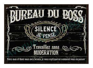 Plaque carton vintage Bureau du Boss pancarte décorative rétro Neuf