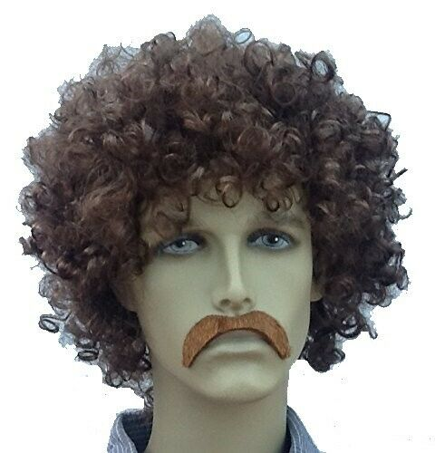 UK DISPATCH BROWN AFRO STYLE FANCY DRESS WIG /& DROOP SELF ADHESIVE MOUSTACHE