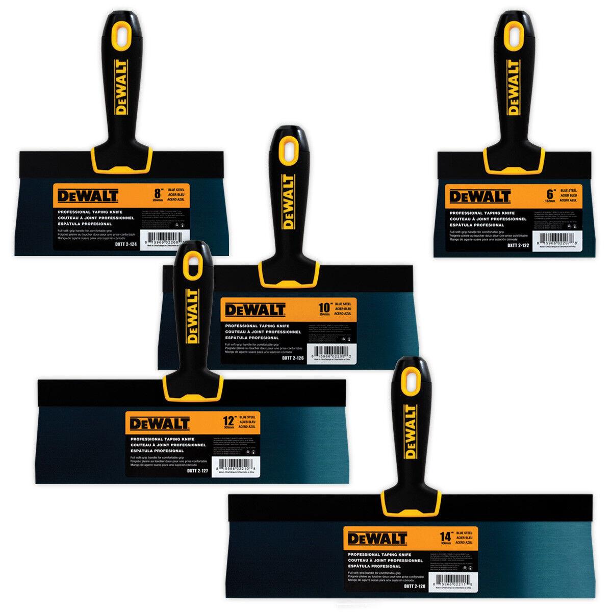 DEWALT Drywall Taping Knife Set Premium bluee Steel 6-8-10-12-14  w  Soft Grip