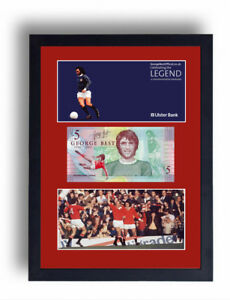 LIMITED EDITION FRAMED GEORGE BEST FIVER NOTE £5 POUND MANCHESTER UTD BANKNOTE