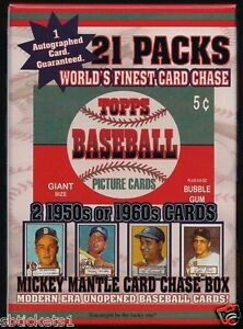 1952-SEALED-Mantle-Rookie-Card-Chase-Box-21-pack-2-CARDS-50-60-039-S-AUTO