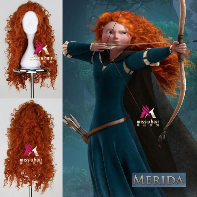 "29.5"" New MERIDA BRAVE Movie Disguise Long Auburn Curly Cosplay Anime Wig Hair"