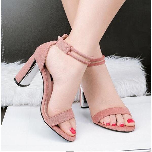 Sandali  a cm eleganti tacco quadrato 8.5 cm a rosa comodi eleganti CW705 c551c2