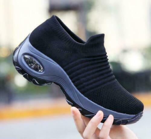 Details about  /Womens Ladies Knitted Med Platform Heels Comfort Outdoor Casual Shoes Leisure