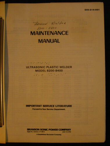 Setup Installation /& Parts Manual Ultrasonic Plastic Welder Branson 8200-8400