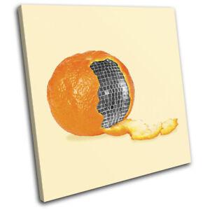 Orange-Disco-Ball-Concept-Food-Kitchen-SINGLE-CANVAS-WALL-ART-Picture-Print