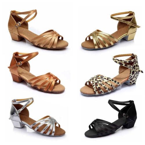 Children child Girl Ballroom Tango Latin Dance Dancing Shoes heeled Salsa 6Color