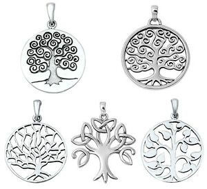 925-Sterling-Silver-TREE-OF-LIFE-amp-TRINITY-TREE-PENDANT-WITH-CHAIN-NECKLACE-18-034