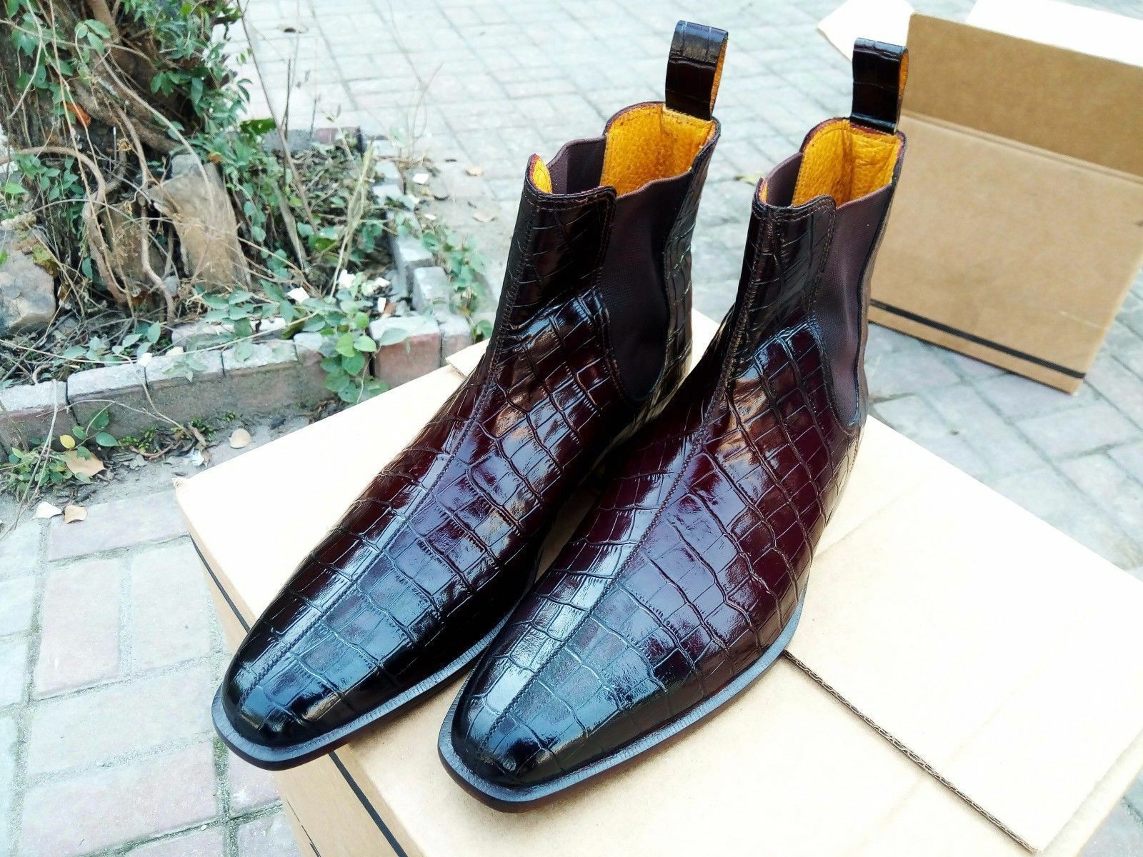 Handmade Chelsea Crocodile Texture Texture Crocodile Leather Ankle Stiefel, Formal Casual Men Stiefel 8eec26