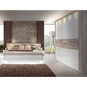 schlafzimmer 2 rondino komplett set in sandeiche und wei hochglanz inkl led ebay. Black Bedroom Furniture Sets. Home Design Ideas