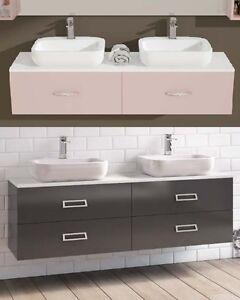 Mobile da arredo per bagno 160 cm doppio lavabo con 2 o 4 cassetti in 30 colori ebay - Mobile bagno per lavabo da appoggio ...