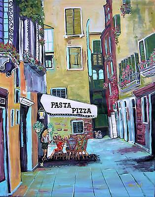 Pizza CAFE Original Art PAINTING DAN BYL Investment Fine Collector Canvas XXL